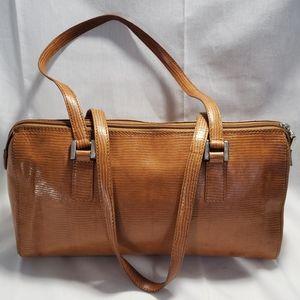 90sTalbots Tan Leather Barrel Handbag Faux Reptile
